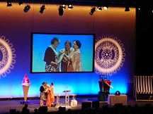 A suprised Margaret Day receiving her Margarette Golding Award
